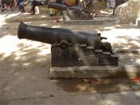 Photograph of a cannon at the main entrance from the Lamu Fort, Kenya