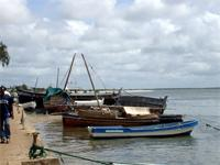 Photograph of boats in the harbour, Lamu Town, Kenya