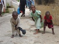 Photograph of children around the Lamu Fort. Kenya
