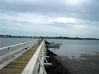 Photograph of the jetty of Manda Island with a view of Lamu, Kenya