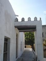 Photograph of the first floor, terrace of the Shela Mosque, Kenya