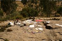 Image of people washing/drying clothes on Mai Qoho hill, Axum, Ethiopia