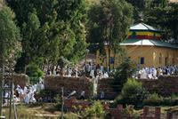 Image of church and people in Axum, Ethiopia