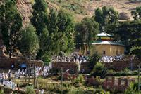 Image of people leaving church after prayers, Axum, Ethiopia