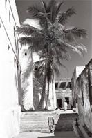 A narrow street along the north side of Lamu Fort in the 1950s.