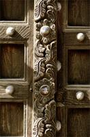 Detail of a carved floral centrepost from a Lamu door.