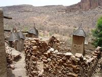 Image of granaries in a Dogon settlement in Bandiagara, Mali