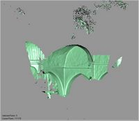 Point cloud of the inside barrel-vaulted ceiling and pillar of the Great Mosque in Kilwa Kisiwani, Tanzania
