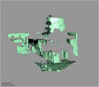 Point cloud of the southwest corner interior with view of the southwest tower of Gereza in Kilwa Kisiwani, Tanzania