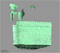 Point cloud of the south wall facade with view of the southewest tower of Gereza in Kilwa Kisiwani, Tanzania