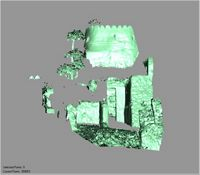 Point cloud of the western interior with views of the tall door and southwest tower of Gereza in Kilwa Kisiwani, Tanzania