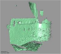 Point cloud of the west facade with southwest tower of Gereza in Kilwa Kisiwani, Tanzania