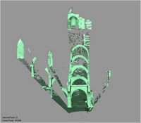 Point cloud of pillars towards the north with views of mihrab at the Great Mosque in Kilwa Kisiwani, Tanzania