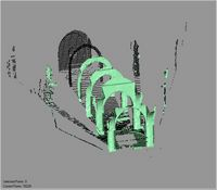 Point cloud of an arch with scaffolding in the Great Mosque in Kilwa Kisiwani, Tanzania