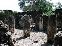 Image of the remaining walls of the Malindi Mosque near the Gereza in Kilwa Kisiwani, Tanzania