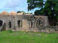 Image of the southwest side of the Great Mosque in Kilwa Kisiwani, Tanzania