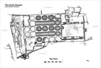 Floor plan of the top view of the Great Mosque in Kilwa Kisiwani, Tanzania