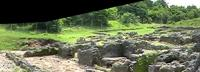 Panoramic image of the foundations of the Great House, south of the Great Mosque in Kilwa Kisiwani, Tanzania