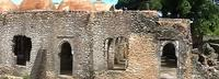 Panoramic image of the west side of the Great Mosque in Kilwa Kisiwani, Tanzania