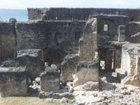 Photogrammetric image of the east side, northwest tower and main gate of the Gereza in Kilwa Kisiwani, Tanzania