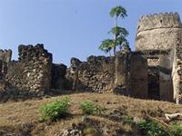 Photogrammetric image of the west side with southwest tower of the Gereza in Kilwa Kisiwani, Tanzania