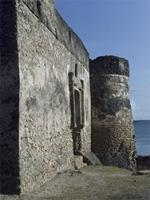 Photogrammetric image of the northeast tower and east side of the Gereza in Kilwa Kisiwani, Tanzania