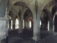 Stereoscopic photograph inside the large extension of the Great Mosque on Kilwa Kisiwani, Tanzania