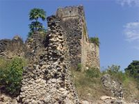 Stereoscopic photograph of the north west corner of the Gereza in Kilwa Kisiwani, Tanzania