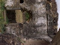 Stereoscopic photograph from inside the old mosque section of the great Mosque in Kilwa Kisiwani, Tanzania