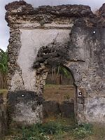 Stereoscopic photograph inside the old mosque section in Kilwa Kisiwani, Tanzania