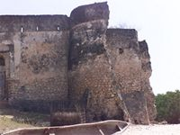 Stereoscopic photograph of the north east tower of the Gereza in Kilwa Kisiwani, Tanzania
