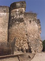 Stereoscopic photograph of the north east corner of the Gereza in Kilwa Kisiwani, Tanzania