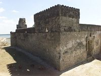 Stereoscopic photograph of the south east corner of the Gereza in Kilwa Kisiwani, Tanzania
