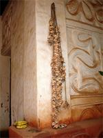 Image of bones on a rope in the Besease Shrine near Kumasi, Ghana