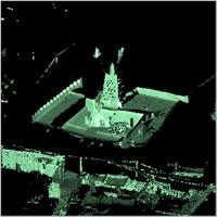 Point cloud of the northern part, main tower, open courtyard and roof of Djingereyber in Timbuktu, Mali
