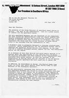 [Letter from Trevor Huddleston to Margaret Thatcher]