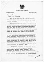 [Letter from Margaret Thatcher to Robert Hughes]