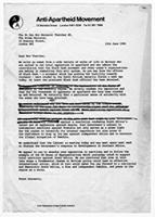 [Draft of letter from the Anti-Apartheid Movement to Margaret Thatcher]