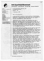 [Letter from the Anti-Apartheid Movement to Margaret Thatcher]