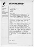 [Letter from Robert Hughes to Geoffrey Howe]