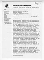 [Letter from the Anti-Apartheid Movement to Geoffrey Howe]