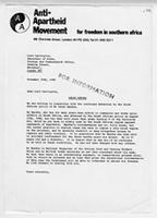 [Letter from the Anti-Apartheid Movement to Lord Carrington]