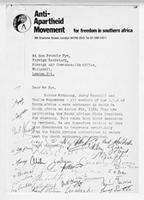 [Letter from the Anti-Apartheid Movement to Francis Pym]