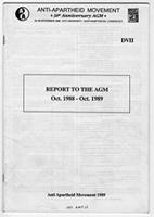 Report to the AGM Oct 1988 - Oct 1989
