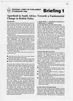 National Lobby of Parliament: Briefing 1 Apartheid in South Africa: Towards a Fundamental Change in British Policy