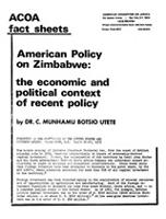 American Policy on Zimbabwe: The Economic and Political Context of Recent Policy