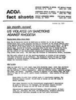 US Violates UN Sanctions Against Rhodesia
