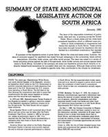 Summary of State and Municipal Legislative Action on South Africa