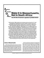 Make It in Massachusetts, Not in South Africa: How We Won Divestment Legislation