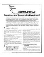 South Africa: Questions and Answers on Divestment